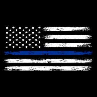 Amerikaanse vlag, amerikaanse politie vlag, dunne blauwe lijn vlag met noodlijdende effect