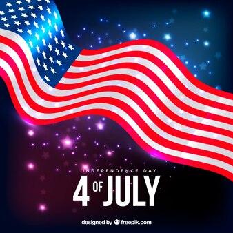 Amerikaanse vlag met glanzende stijl