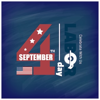 Amerikaanse vlag met typografie labour day 4 september verenigde staten van amerika amerikaanse labour day design prachtige verenigde staten vlag compositie labour day poster design blue background