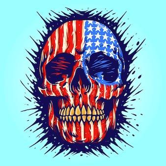 Amerikaanse vlag schedel gouden tandheelkundige vectorillustraties voor uw werk logo, mascotte merchandise t-shirt, stickers en labelontwerpen, poster, wenskaarten reclame bedrijf of merken.