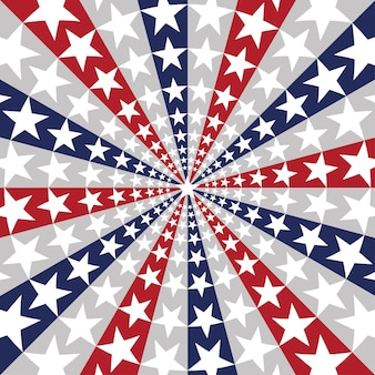 Amerikaanse vlag zonnestraalachtergrond met sterren en strepen die 4 juli onafhankelijkheidsdag symboliseren