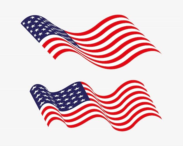 Amerikaanse vlaggen zwaaien