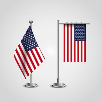 Amerikaanse vlaggenstandaard. vs vlag ingesteld