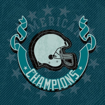 Amerikaanse voetbal helm kampioenen competitie op blauwe achtergrond