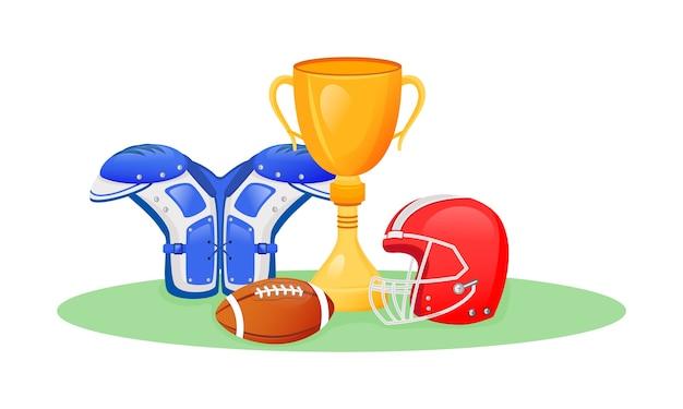Amerikaanse voetbal trofee platte concept illustratie