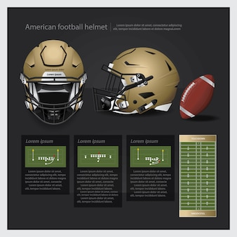 Amerikaanse voetbalhelm met teamplan vectorillustratie
