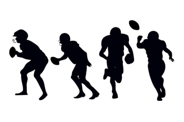 Amerikaanse voetballers silhouetten