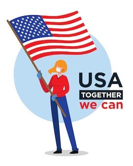 Amerikaanse vrouw met amerikaanse vlag die mensen aanmoedigt tegen coronavirus