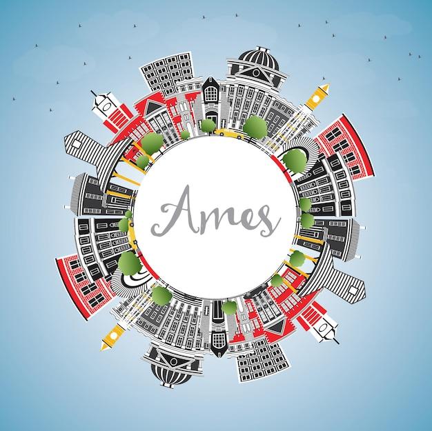 Ames iowa skyline met kleur gebouwen, blauwe lucht en kopie ruimte. vectorillustratie. zakelijke reizen en toerisme illustratie met historische architectuur.