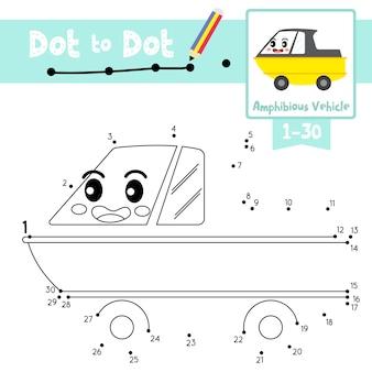 Amfibisch voertuig dot to dot spel en kleurboek