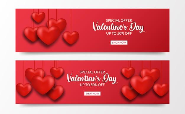 Amour love valentijnsdag verkoop aanbieding banner met 3d hart liefde opknoping rode kleur