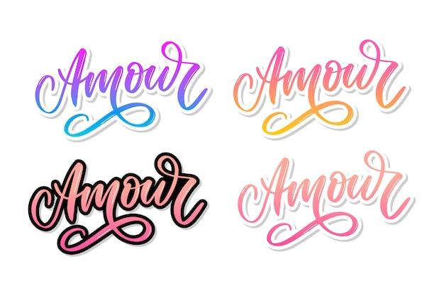 Amour. vector handgeschreven belettering met hand getrokken bloemen
