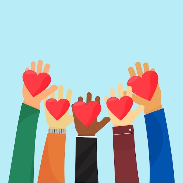 Ampathie en liefdadigheid. liefde geven.