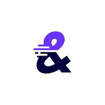 Ampersand mark dash en tech digitale snelle snelle levering beweging paarse logo vector pictogram illustratie