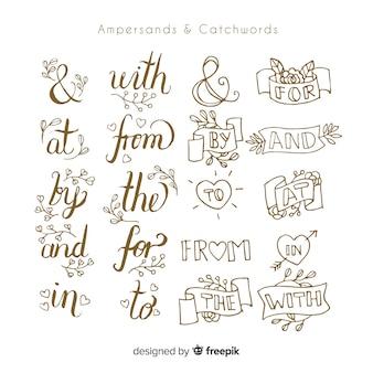 Ampersand trefwoorden belettering collectie