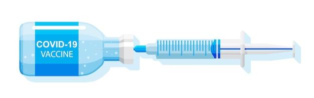 Ampul en spuit met medicament. coronavirus covid 19-vaccinatieconcept. ik