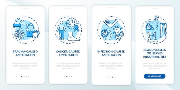 Amputatie veroorzaakt onboarding van een mobiel app-paginabeeld met concepten. tumor, bloedvaten beschadigen walkthrough 4 stappen grafische instructies.