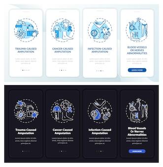 Amputatiemotieven onboarding mobiele app-paginascherm met concepten