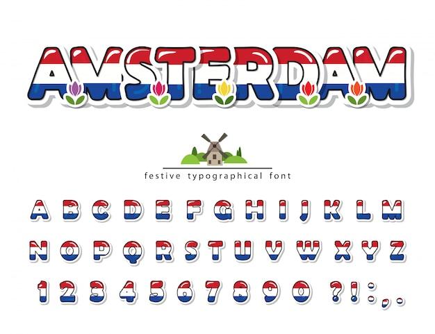 Amsterdam creatief lettertype, nationale vlag kleuren.