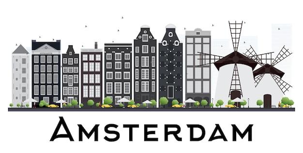 Amsterdam holland skyline met grijze gebouwen geïsoleerd op een witte achtergrond. vectorillustratie. zakelijke reizen en toerisme concept.