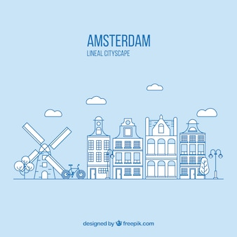 Amsterdam in rechte lijn stijl achtergrond
