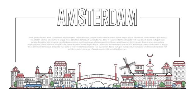 Amsterdam landmark panorama in lineaire stijl