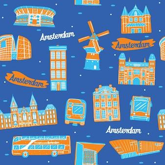 Amsterdam naadloos patroon met oriëntatiepuntenelementen