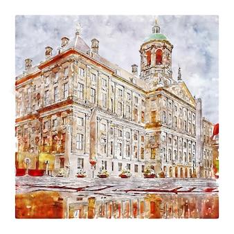 Amsterdam nederland aquarel schets hand getrokken illustratie
