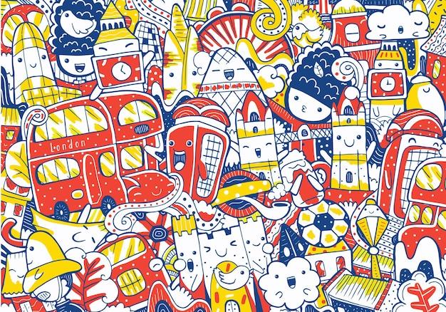 Amsterdam stadsgezicht doodle in platte ontwerpstijl