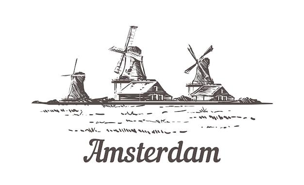 Amsterdamse schets, landschap van zanse schans