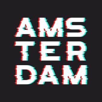 Amsterdamse t-shirt en kleding met lawaai, glitch,