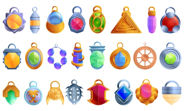 Amulet iconen set, cartoon stijl