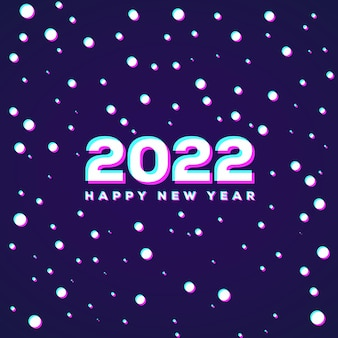 Anaglyph 3d-effect sneeuwval onthult gelukkig nieuwjaar 2022 minimale achtergrond abstract