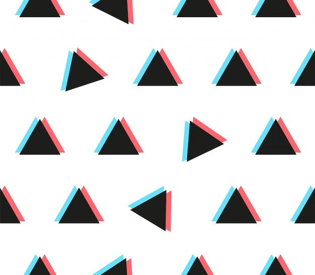 Anaglyph driehoek naadloos patroon met glitch effect