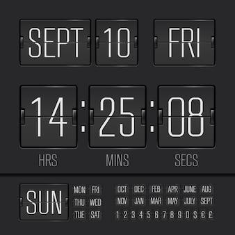 Analoge zwarte scorebord digitale timer met datum en tijd van de week