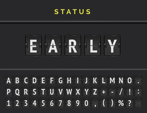 Analoog flipboard op de luchthaven met informatie over de status van de vertrekvlucht die vroeg komt met volledig lettertype.