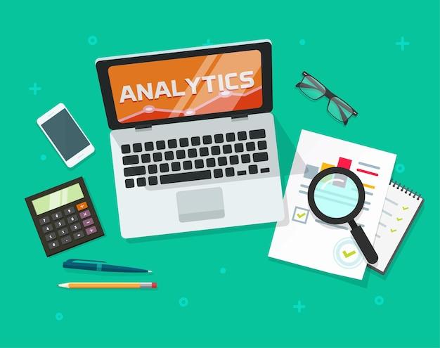Analyse-auditonderzoeksrapport met analysegegevens online op een platte cartoon van het laptopcomputerscherm