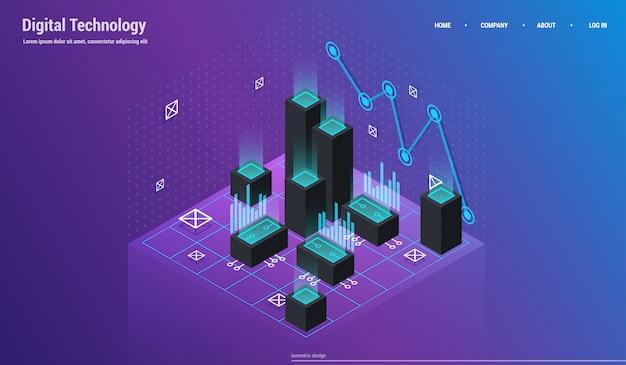 Analyse en investeringen. gegevens visualisatie concept. 3d isometrisch