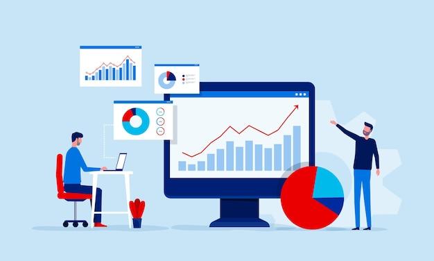 Analyse en monitoring van het team van mensen op het dashboard van het webrapport