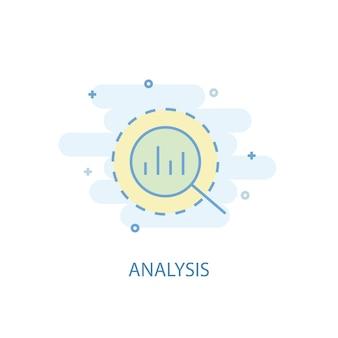 Analyse lijn concept. eenvoudig lijnpictogram, gekleurde illustratie. analyse symbool plat ontwerp. kan worden gebruikt voor ui/ux