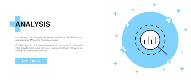 Analyse pictogram, banner overzicht sjabloon concept. analyse lijn illustratie ontwerp