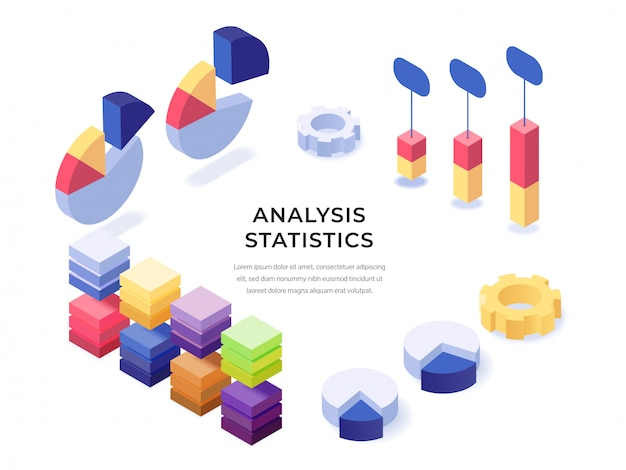 Analyse statistieken isometrische poster