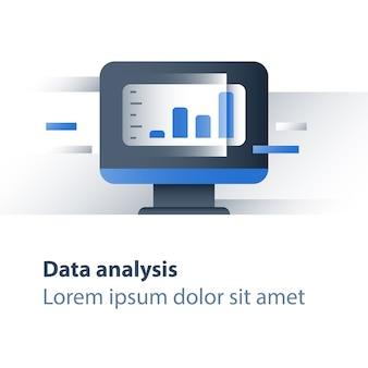 Analyse van aandelenmarktgegevens, technologie voor bedrijfsverbetering, rendement van waarde-investeringen, grafiek van financieel stroomrapport, omzetgroei, prestaties van hedgefondsen