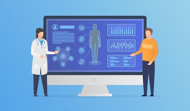 Analyse van de gezondheid van het menselijk lichaam met arts en patiënt overleg met moderne infographic moderne vlakke stijl
