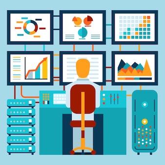 Analyse van informatie op dashboard in vlakke stijl. vector illustratie