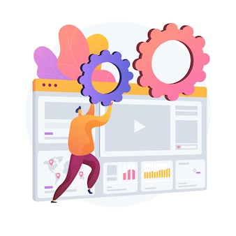 Analyse van internetadvertenties. seo, marketing, rapporten infographics. digitale promotie, advertenties op sociale medianetwerken. promo voor video-inhoud.