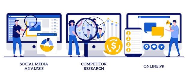 Analyse van sociale media, onderzoek van concurrenten, online pr-concept met kleine mensen. product reclame strategie ontwikkeling vector illustratie set. smm-analyse, metafoor voor doelgroepsegmentatie.