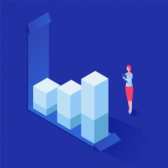 Analyse van statistieken isometrische illustratie