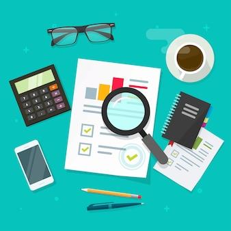 Analyse verkoopgegevensrapport op werkplektafel plat leggen, onderzoeksrapport financiële auditanalyse