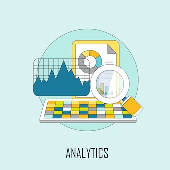 Analyseconcept: gegevens en vergrootglas in lijnstijl